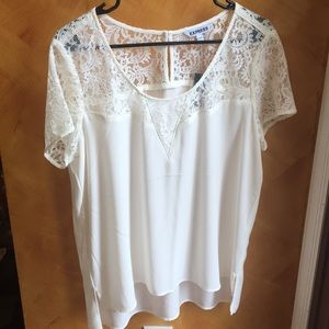 NWT White Scoop Neck Lace Blouse